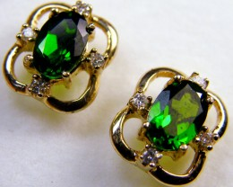 BEAUTIFUL CHROME DIOPSIDE  14 K GENUINE DIAMONDS      MY 910