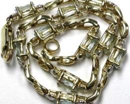 AQUAMARINE 10KT YELLOW GOLD BRACELET   19.45 CTS    GTJA308