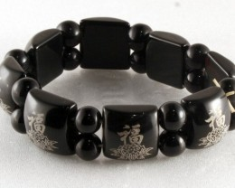 Fine Natural Black Onyx Bracelet with Chinese Signs 19cm ob9
