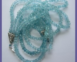 468CT SUPREME QUALITY 3-STRAND AQUAMARINE NECKLACE-GORGEOUS