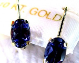 10K IOLITE GEMSTONE EARRINGS 4  CTS SH-2125