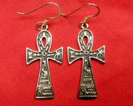 BRONZE CROSS EARRINGS RT 259