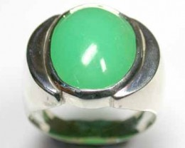 CHRYSOPHASE ON STERLING SILVER RING SIZE13 G18 OA