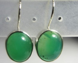 CHRYSOPRASE GEMSTONE SHEPPARD HOOK SILVER EARRINGS  MGMG 404