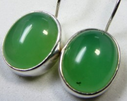 21  CTS CHRYSOPRASE SILVER SHEPPARD HOOK EARRINGS MYGM483