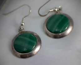 Lovely Green Malachite Earrings, Israel IS01