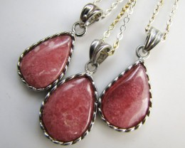 49Cts Three  rhodonite Pendants  MJA 1013