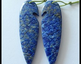 56.45ct Bird Carving Lapislazuli Earring Beads