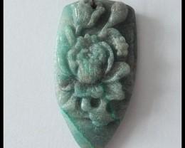39.5Ct Chrysocolla Flower Pendant Bead