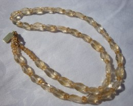 NEW 20 IN. OF BUTTERY SEMI-PRECIOUS  CITRINE FACETED BEADS