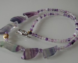 BEAUTIFUL NATURAL FLUORITE NECKLACE 56CMS