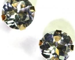 GOLD 10 K  AQUARAMINE EARRINGS 1.90 CTS [SS105]