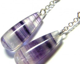 FLUORITE EARRINGS -SILVER 26.90 CTS [SJ454]