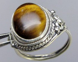 AUSSIE TIGER EYE  SILVER 925 RING SIZE  10 GG 1029