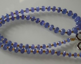 BEAUTIFUL QUALITY TANZANITE(240cts) AND GOLD NECKLACE 62 CM