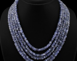 Masterpiece Genuine 491.00 Cts Blue Tanzanite 5 Line Faceted Beads Necklace
