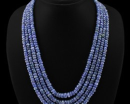 Genuine 668.00 Cts 4 Line Blue Tanzanite Beads Necklace