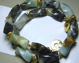 PERU OPAL TWIST BEAD NECKLACE 526 CTS  AS-A5337