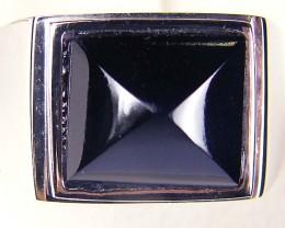JET BLACK CABOCHON  SPINEL SILVER RING SIZE 12.5  GTT 1680