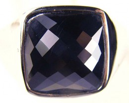 JET BLACK FACETED SPINEL SILVER RING SIZE  13 GTT 1682