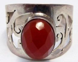 Carnelium   set in Silver Ring  size  9.5   MJA 722