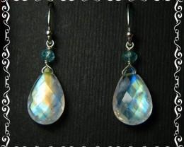 Quality Rainbow Moonstone .925 Silver Earrings JW29