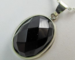Black Onyx faceted in silver pendant   MJA367