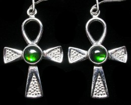22.92 CTS AMMOLITE EARRINGS -SLIVER [SJ2529]