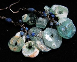 LONG  ANCIENT ROMAN GLASS EARRINGS  MJA 202