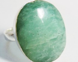 Large Oval  Amazonite in Silver Ring size 10  JGG 128