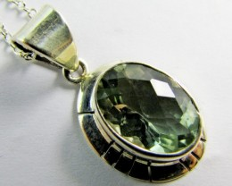 21 Cts  Green Amethyst  in Silver pendant    MJA 616