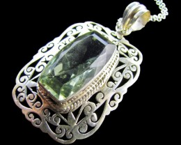 66 Cts   large Green Amethyst  in Silver pendant    MJA 617