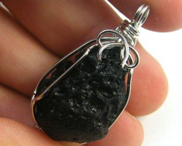 TEKTITE SET IN WIRE WRAP PENDANT   AAA2284