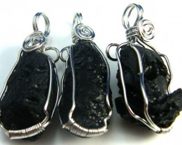 THREE TEKTITE SET IN WIRE WRAP PENDANT   AAA2294