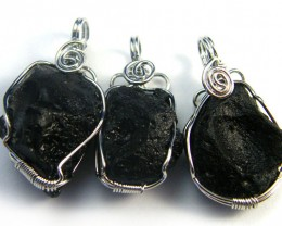THREE TEKTITE SET IN WIRE WRAP PENDANT   AAA2295