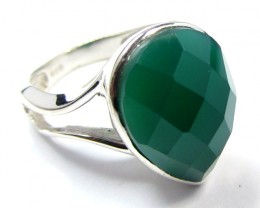 FACETED ONYX SILVER RING SIZE 8  MYGM 574