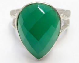 Green Onyx set in Silver ring size  9  MJA 701