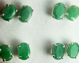 TRADE DEAL 4  SETS JADE  SILVER EARRINGS  MYT 134