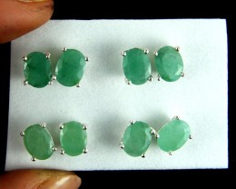 TRADE DEAL 4  SETS JADE  SILVER EARRINGS  MYT 142