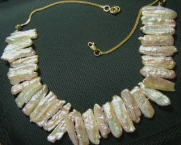 NATURAL BIWA PEARL NECKLACE 22 K SOLID GOLD CHAIN A (TBO-GR)