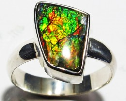 6.5 RING SIZE BRIGHT  CANADIAN AMMOLITE SILVER  RING  [SJ4185]
