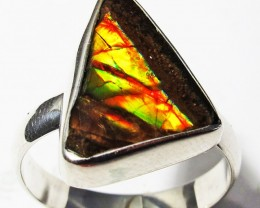 9 RING SIZE BRIGHT  CANADIAN AMMOLITE SILVER  RING  [SJ4188]