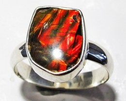 8.5 RING SIZE BRIGHT  CANADIAN AMMOLITE SILVER  RING  [SJ4189]5