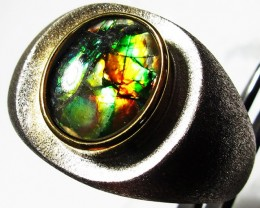 8.5 RING SIZE BRIGHT  CANADIAN AMMOLITE SILVER  RING  [SJ4200]