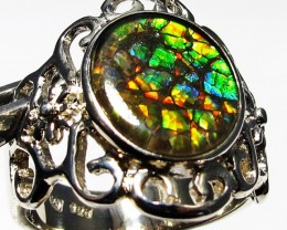5.5 RING SIZE BRIGHT  CANADIAN AMMOLITE SILVER  RING  [SJ4199]