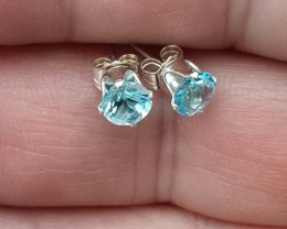 BLUE TOPAZ EARRINGS SET IN STERLING SILVER 925