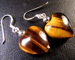 AUSSIE TIGER EYE  SET IN SILVER EARRINGS   RT83