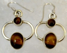 AUSSIE TIGER EYE  SILVER EARRINGS         RT 1181