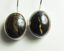 TIGER EYE GEMSTONE SHEPPARD HOOK SILVER EARRINGS  MGMG 403