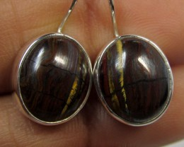 20 CTS TIGER EYE  SILVER SHEPPARD HOOK EARRINGS MYGM489